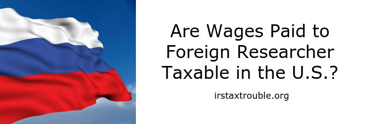 foreign research exchange visa taxable in us